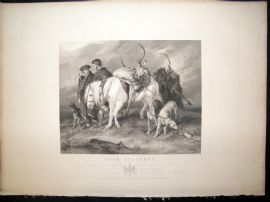 After Edwin Landseer C1840 LG Folio Antique Print. Deer Stalkers